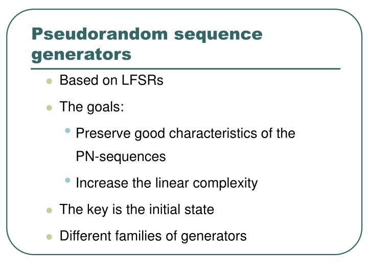Pseudorandom sequence generators