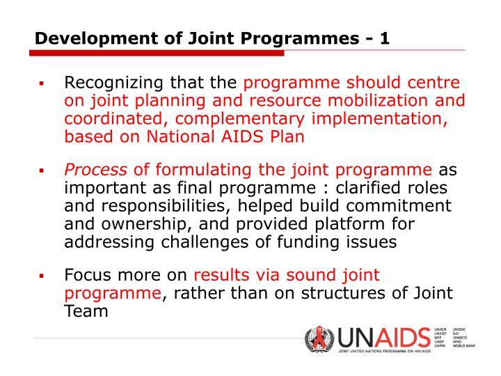Development of Joint Programmes - 1