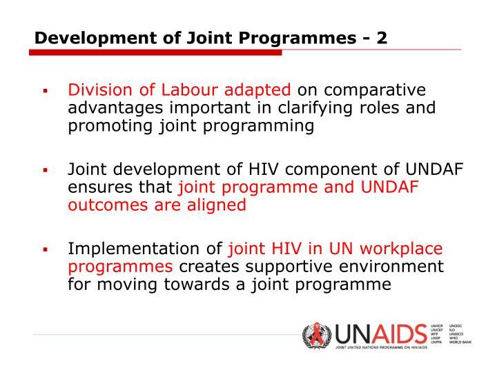 Development of Joint Programmes - 2
