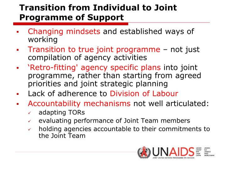 Transition from Individual to Joint Programme of Support