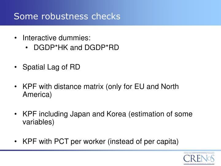 Some robustness checks