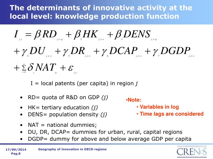 The determinants of innovative activity at the local level: knowledge production function