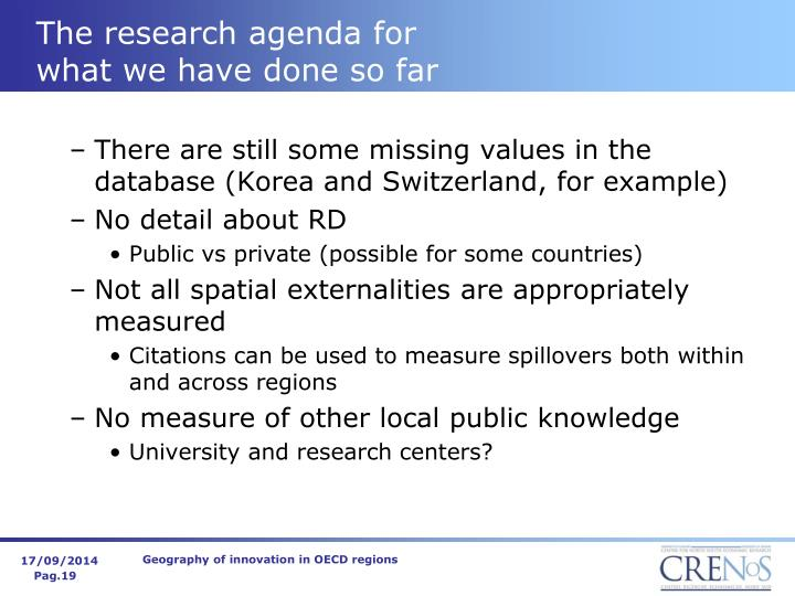 The research agenda for