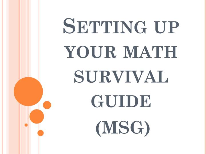 setting up your math survival guide n.