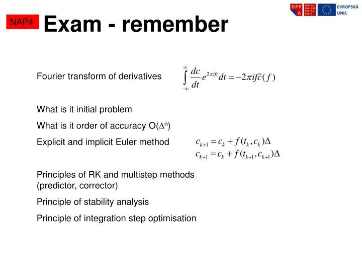 Exam - remember