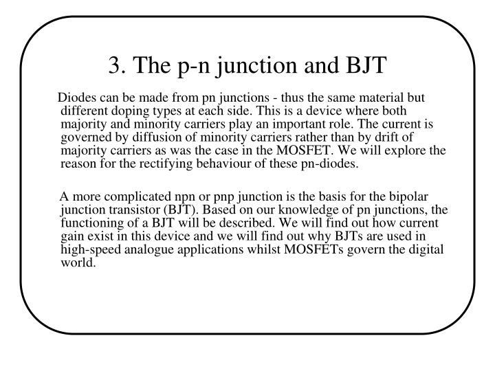 3. The p-n junction and BJT