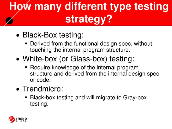 How many different type testing strategy?