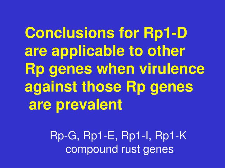 Conclusions for Rp1-D