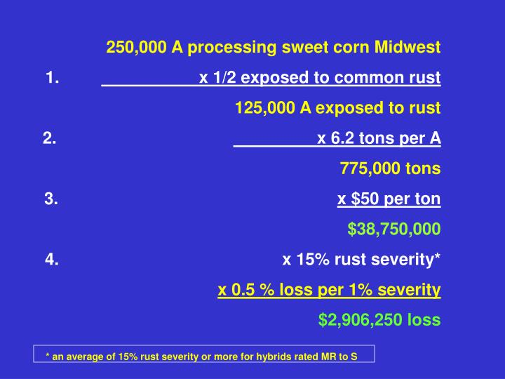 250,000 A processing sweet corn Midwest