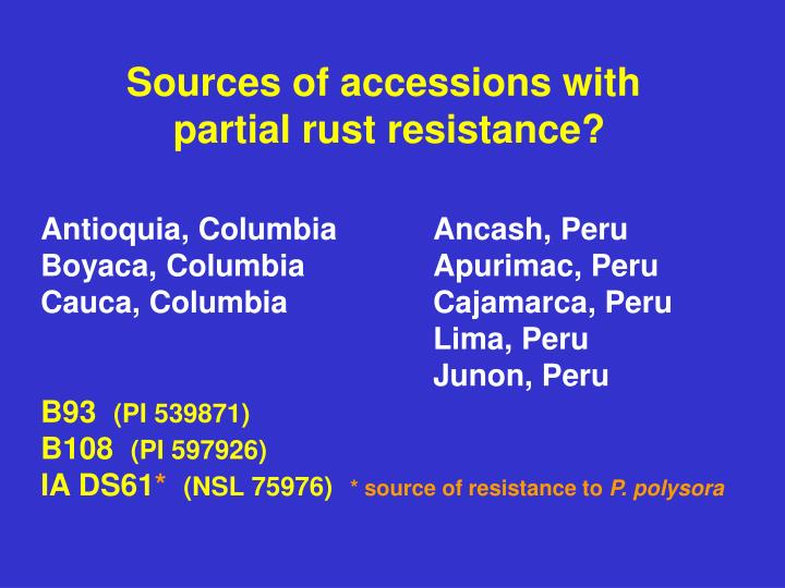Sources of accessions with