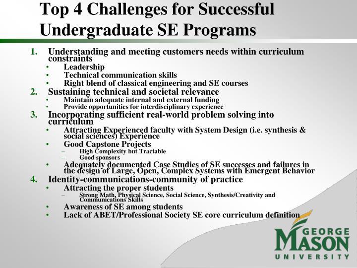 Top 4 Challenges for Successful Undergraduate SE Programs