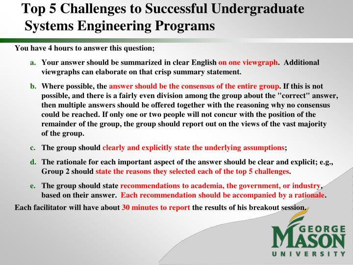 Top 5 challenges to successful undergraduate systems engineering programs