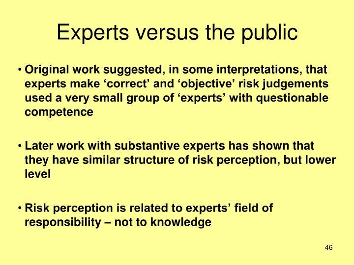 Experts versus the public