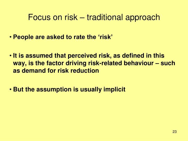Focus on risk