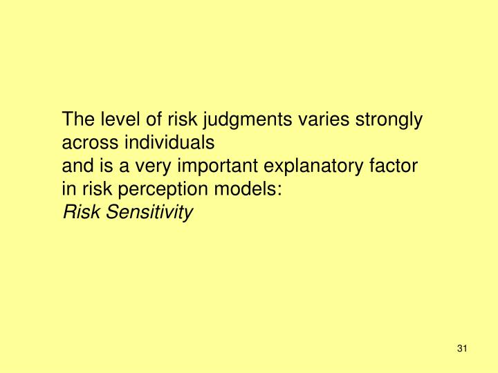 The level of risk judgments varies strongly