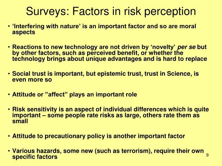 Surveys: Factors in risk perception