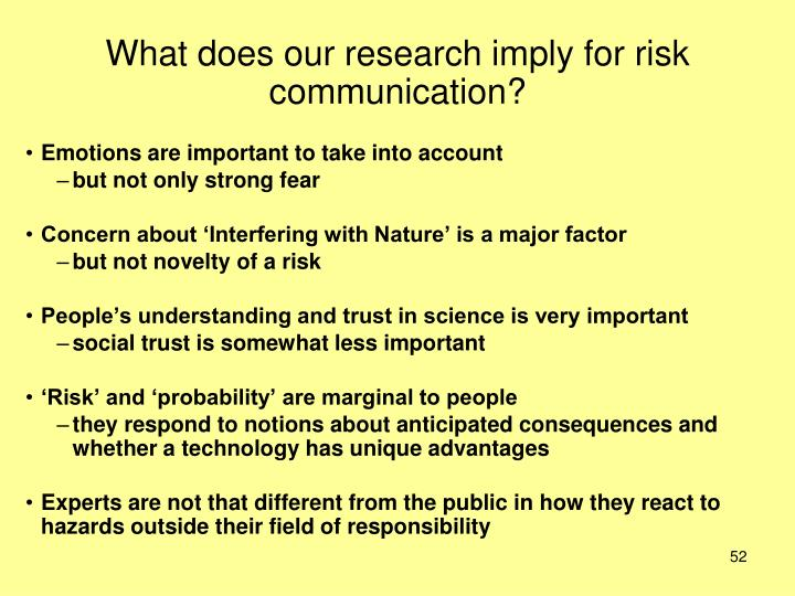 What does our research imply for risk communication?