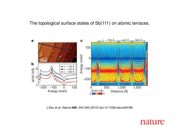 The topological surface states of Sb(111) on atomic terraces.