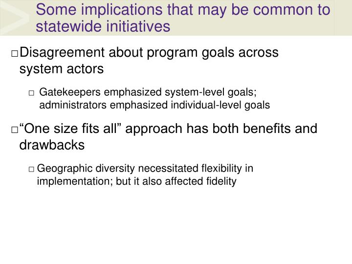 Some implications that may be common to statewide initiatives
