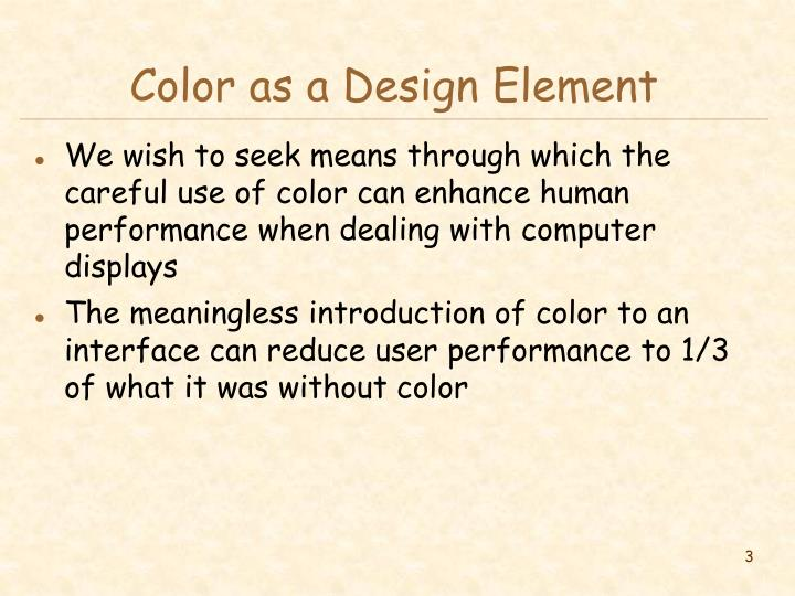Color as a design element