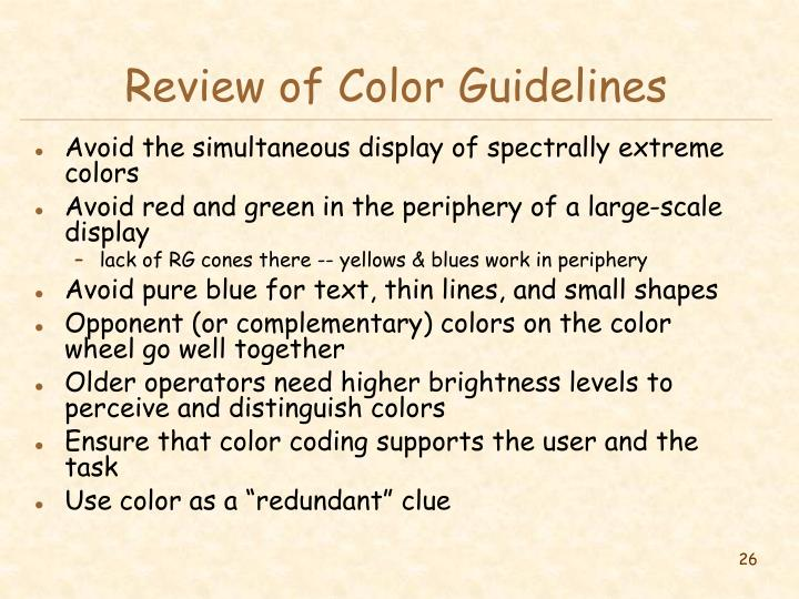 Review of Color Guidelines