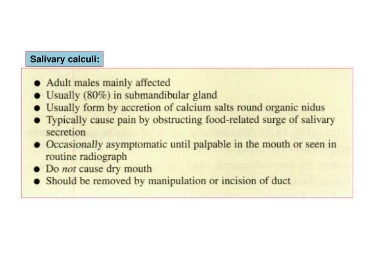 Salivary calculi: