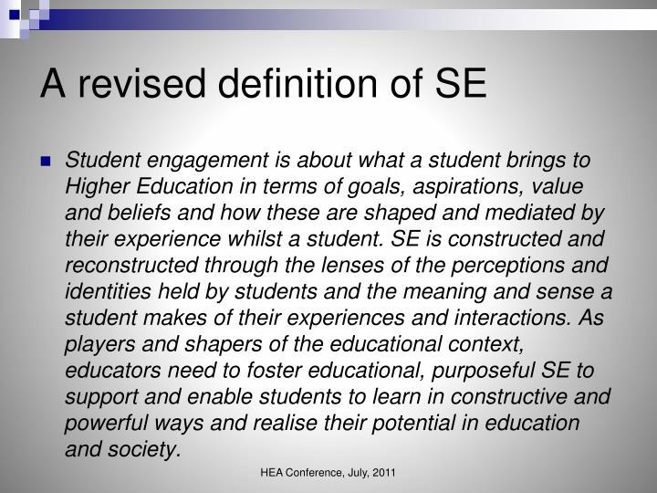 A revised definition of SE