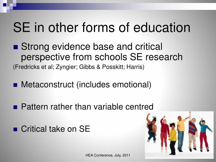 SE in other forms of education