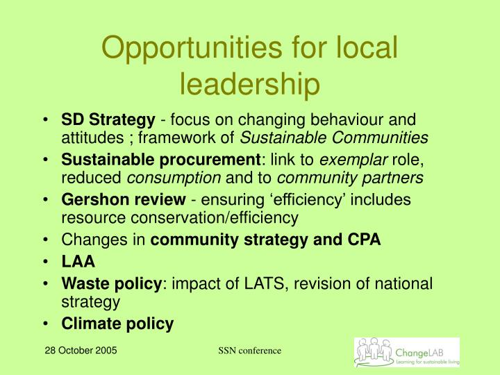 Opportunities for local leadership