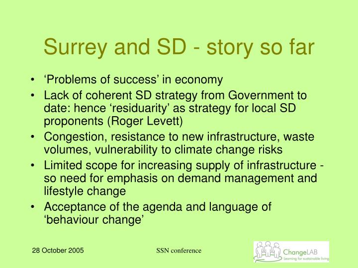 Surrey and SD - story so far