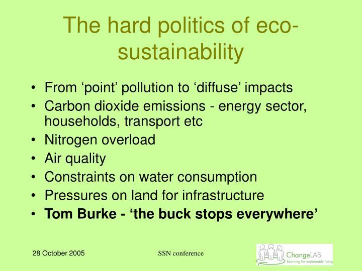 The hard politics of eco sustainability