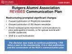 rutgers alumni association revised communication plan