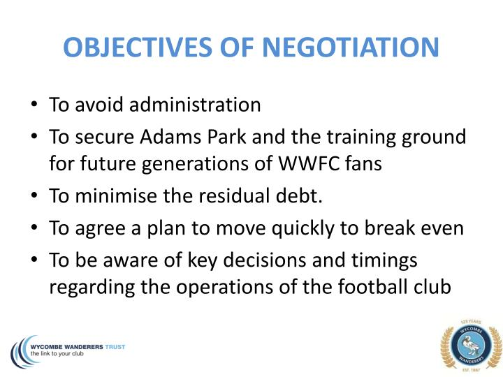 OBJECTIVES OF NEGOTIATION