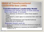 model of transformational leadership bass 1985