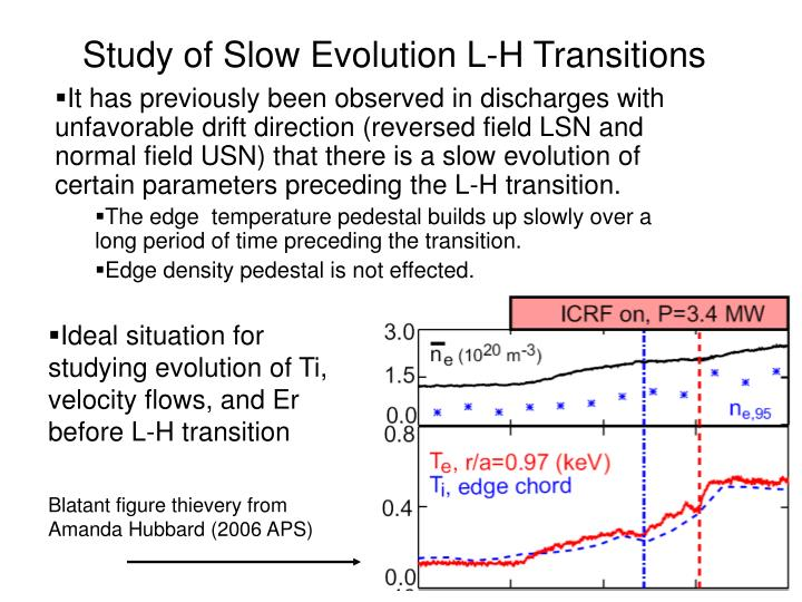 Study of slow evolution l h transitions