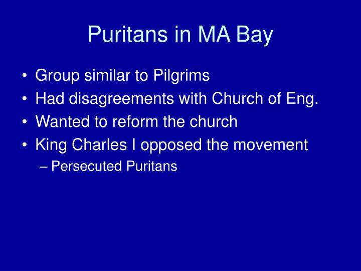 Puritans in MA Bay