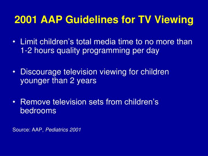 2001 AAP Guidelines for TV Viewing