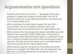 argumentative test questions