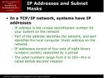 ip addresses and subnet masks