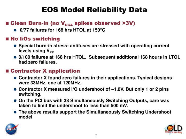EOS Model Reliability Data