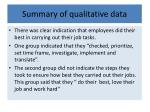 summary of qualitative data