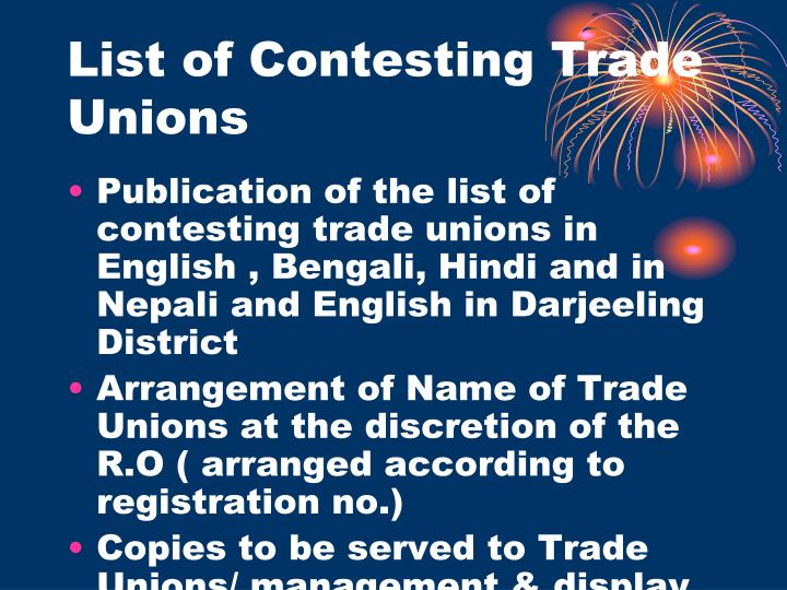 List of Contesting Trade Unions