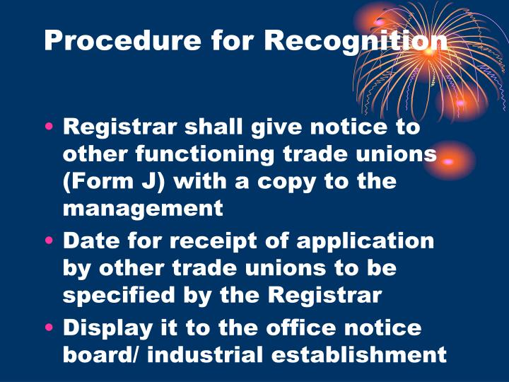 Procedure for Recognition