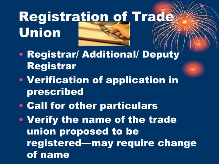 Registration of Trade Union