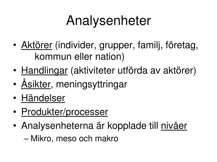 Analysenheter