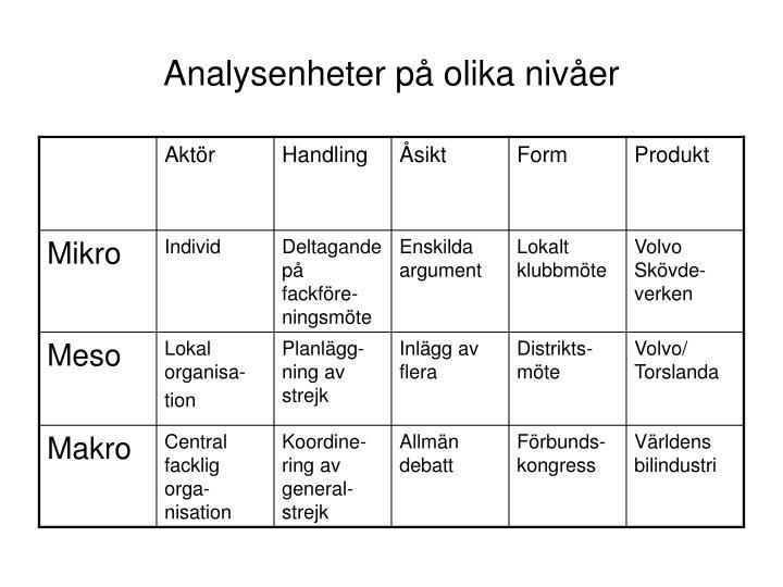 Analysenheter på olika nivåer