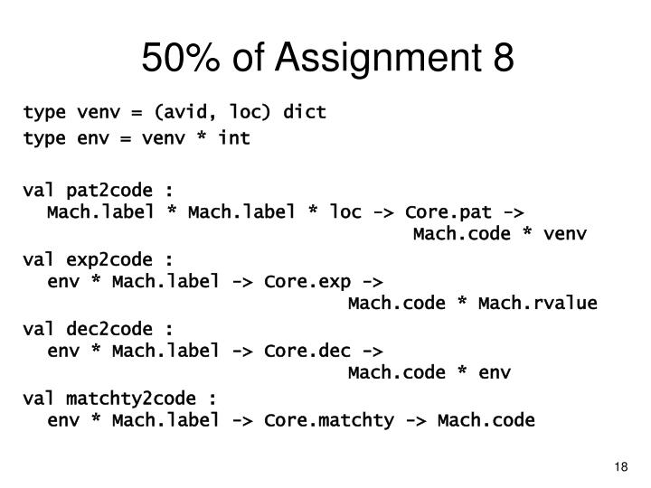 50% of Assignment 8