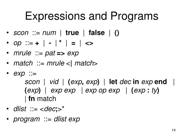 Expressions and Programs