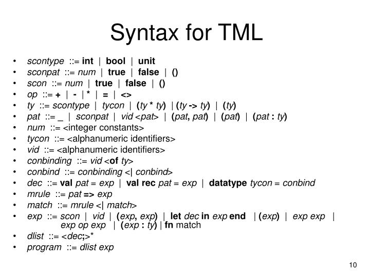 Syntax for TML