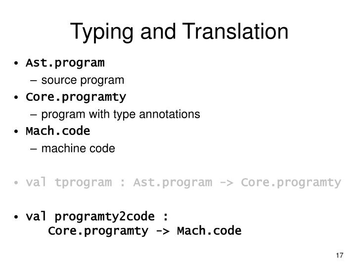 Typing and Translation